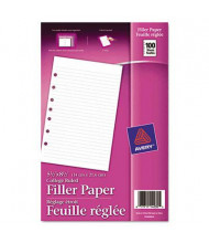 "Avery 5-1/2"" x 8-1/2"", 100-Sheets, 7-Hole Punch Mini Binder Filler Paper"