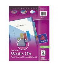 Avery Write-On & Erasable 5-Tab Letter Pocket Dividers, Multicolor, 1 Set