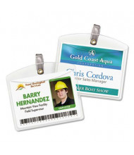 """Avery 4"""" x 3"""" Horizontal Clip-Style Badge Holders, Clear, 100/Box"""