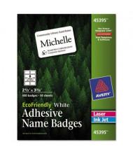 "Avery 2-1/3"" x 3-3/8"" EcoFriendly Name Badge Labels, White, 400/Box"