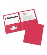 "Avery 30-Sheet 8-1/2"" x 11"" Embossed Two-Pocket Portfolio, Red, 25/Box"