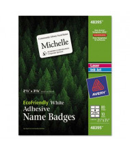 """Avery 2-1/3"""" x 3-3/8"""" EcoFriendly Name Badge Labels, White, 80/Pack"""