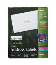 """Avery 2-5/8"""" x 1"""" EcoFriendly Laser & Inkjet Mailing Labels, White, 3000/Pack"""