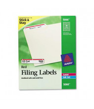"Avery 3-7/16"" x 2/3"" Self-Adhesive Laser & Inkjet File Folder Labels, Red Border, 1500/Box"