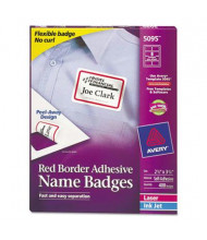 "Avery 2-1/3"" x 3-3/8"" Flexible Self-Adhesive Name Badge Labels, White/Red, 400/Box"