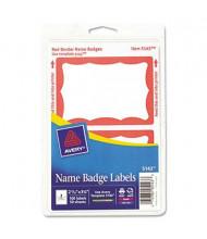 "Avery 3-3/8"" x 2-11/32"" Printable Self-Adhesive Name Badges, Red, 100/Pack"