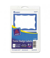 "Avery 3-3/8"" x 2-11/32"" Printable Self-Adhesive Name Badges, Blue, 100/Pack"