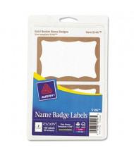 "Avery 3-3/8"" x 2-11/32"" Printable Self-Adhesive Name Badges, Gold, 100/Pack"