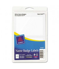 "Avery 3-3/8"" x 2-11/32"" Printable Self-Adhesive Name Badges, White, 100/Pack"
