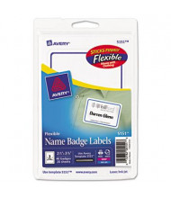 """Avery 2-1/3"""" x 3-3/8"""" Flexible Self-Adhesive Name Badge Labels, White/Blue, 40/Pack"""