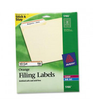 "Avery 3-7/16"" x 2/3"" Self-Adhesive Laser & Inkjet File Folder Labels, Orange Border, 750/Pack"