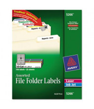 "Avery 3-7/16"" x 2/3"" Self-Adhesive Laser & Inkjet File Folder Labels, Assorted, 750/Pack"