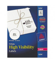 "Avery 2-1/2"" High-Visibility Round Laser Labels, White, 300/Pack"