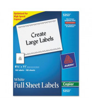 "Avery 11"" x 8-1/2"" Full-Sheet Copier Mailing Labels, White, 100/Box"