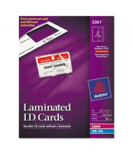 "Avery 2"" x 3-1/4"" Laminated ID Cards, White, 30/Box"