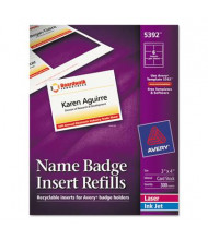 "Avery 4"" x 3"" Additional Name Badge Inserts, White, 300/Box"