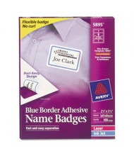 "Avery 2-1/3"" x 3-3/8"" Flexible Self-Adhesive Name Badge Labels, White/Blue, 400/Box"