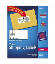 "Avery 2"" x 4"" Laser & Inkjet Printer Internet Shipping Labels, White, 2500/Box"