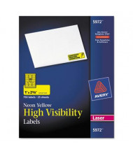 "Avery 2-5/8"" x 1"" High-Visibility Laser Labels, Neon Yellow, 750/Pack"