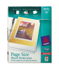 """Avery 8-1/2"""" x 11"""" Top-Load Poly 3-Hole Punched Sheet Protectors, Diamond Clear, 50/Box"""