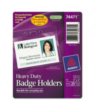 """Avery 4"""" x 3"""" Horizontal Secure Top Heavy-Duty Badge Holders, Clear, 25/Pack"""