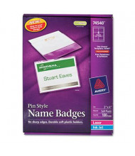 "Avery 3"" x 4"" Top Load Badge Holder Kit with Badge Insert, White, 100/Box"