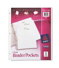 "Avery 20-Sheet 8-1/2"" x 11"" Binder Pockets, Clear, 5 Pockets/Pack"