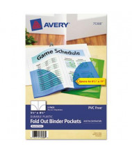 "Avery 5-1/2"" x 8-1/2"" Fold-Out Small Binder Pockets, Assorted, 3/Pack"