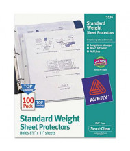 "Avery 8-1/2"" x 11"" Top-Load Semi-Clear Poly Sheet Protectors, 100/Box"