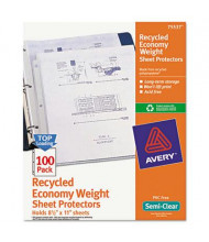 """Avery 8-1/2"""" x 11"""" Top-Load Recycled Semi-Clear Poly Sheet Protectors, 100/Pack"""