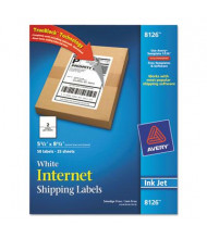 "Avery 5-1/2"" x 8-1/2"" Inkjet Printer Internet Shipping Labels, White, 50/Pack"
