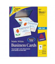 "Avery 3-1/2"" x 2"", 250-Cards, White Matte Inkjet Card Stock"