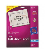 """Avery 11"""" x 8-1/2"""" Full-Sheet Inkjet Mailing Labels, Clear, 25/Pack"""