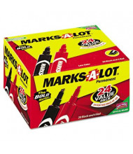 Marks-A-Lot Regular Permanent Marker, Chisel Tip, Red/Black, 24-Pack