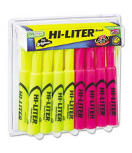 Hi-Liter Chisel Tip Desk Highlighter, Pink & Yellow, 24-Pack