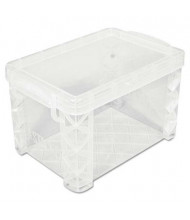"""Advantus Super Stacker Plastic Storage Boxes, Holds 500 4"""" x 6"""" Cards, Clear"""