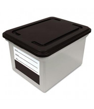 "Innovative 14-1/2"" D Letter & Legal File Tote Storage Box w/ Lid, Black"
