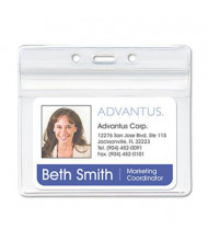 "Advantus  3-3/4"" x 2-5/8"" Horizontal Resealable ID Badge Holder, Clear, 50/Pack"