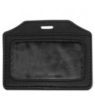 "Advantus 3"" x 4"" Horizontal Leather-Look Badge Holder, Black, 5/Pack"
