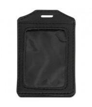 "Advantus 3"" x4"" Vertical Leather-Look Badge Holder, Black, 5/Pack"