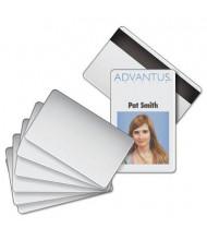 "Advantus 2-1/8"" x 3-3/8"" Blank Magnetic Strip PVC ID Badge Card, White, 100/Pack"