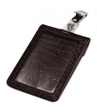 "Advantus 2-1/2"" x 3-3/4"" Croc-Textured Badge Holder, Brown, 5/Pack"