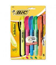 BIC Brite Liner Retractable Chisel Tip Highlighter, Assorted, 5-Pack