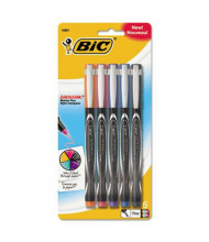 BIC Intensity 0.5 mm Fine Stick Porous Point Pens, Assorted, 5-Pack