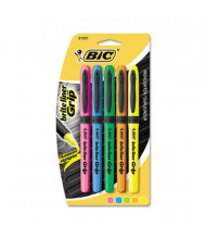 BIC Brite Liner Grip Chisel Tip Highlighter, Assorted, 5-Pack