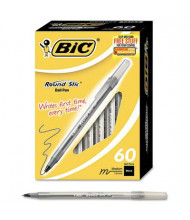 BIC Round Stic 1 mm Medium Stick Ballpoint Pens, Black, 60-Pack