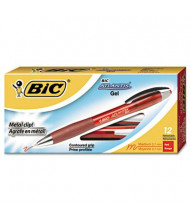 BIC Atlantis 0.7 mm Medium Retractable Gel Ballpoint Pens, Red, 12-Pack
