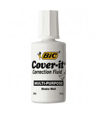 BIC Cover-It Commercial Correction Fluid, 20 ml Bottle, White, 12-Pack