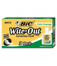 BIC Wite-Out Extra Coverage Correction Fluid, 20 ml Bottle, White, 3-Pack