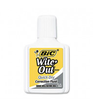 BIC Wite-Out Quick Dry Correction Fluid, 20 ml Bottle, White, 12-Pack